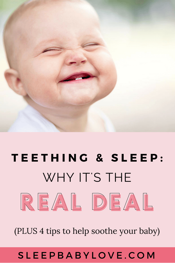 One Growing Pain That Is Common Among Every Parent Is A Teething Baby. But One Thing That's Not So Common Is How You Can Help Soothe Your Baby And Not Disrupt Their Sleep (as Best You Can, Anyway). Click Through To Learn The 4 Golden Rules To Teething And Sleep So You Can Soothe The Situation And Get Your Baby Back To A Normal Sleep Schedule. Teething Baby | Teething Pain | Teething Remedies | Teething Chart | #sleepbabylove #babysleep #babies #sleeptips #teethingtips